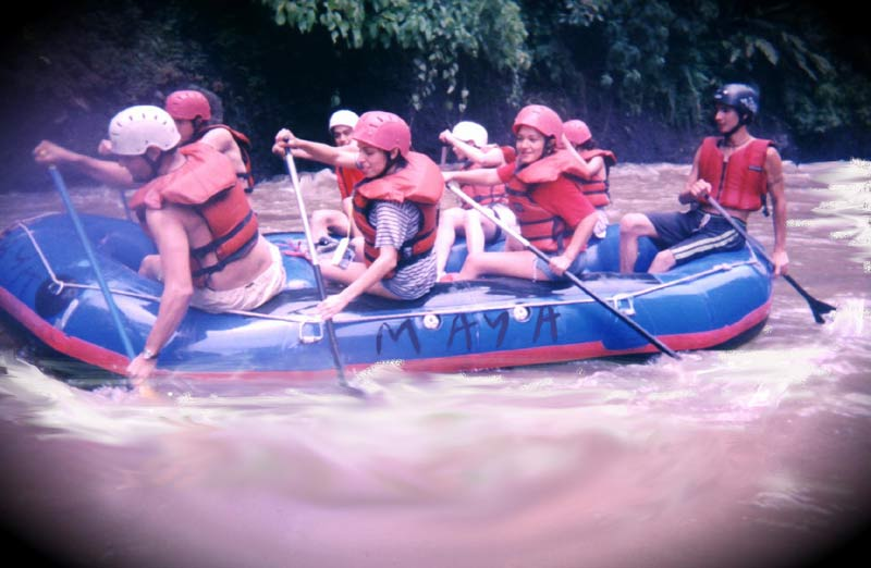 Frank with Novices - Coyolate River - Maya Expeditions