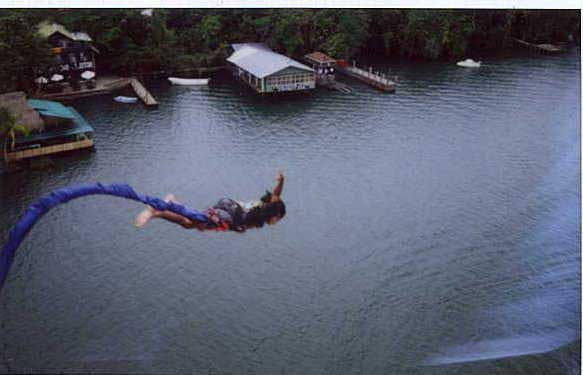 Flying off Rio Dulce Bridge - bungee - Maya Expeditions