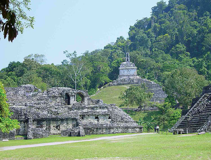 Palenque Main Plaze view of Temple of the Cross - by Bill Bogusky