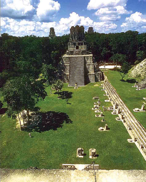 Main Plaza of Tikal - Maya Archaeological Site - Photo by Bill Bogusky Maya Expeditions