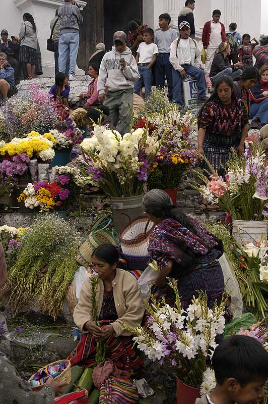 Chichicastenango Market in front of Church Santo Tomas - photo by Gordon Kilgore - Maya Expeditions