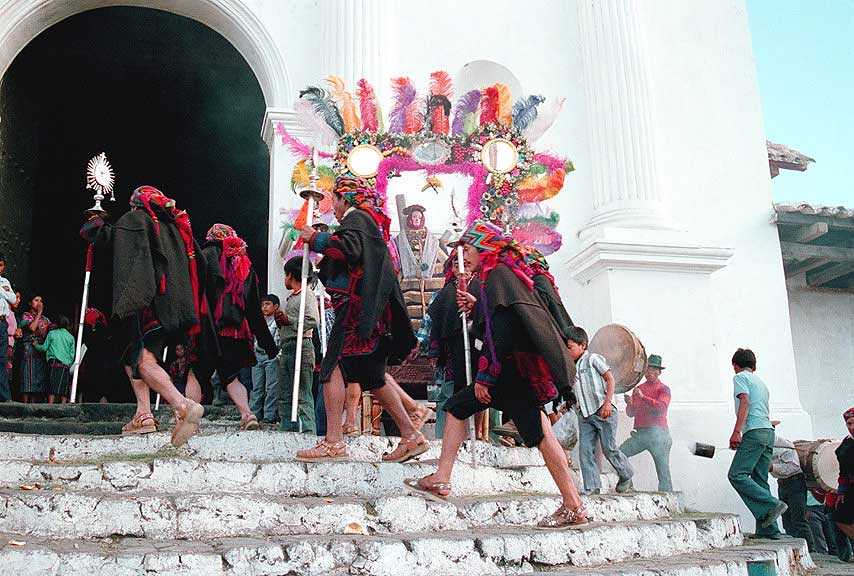 Cofradia procession entering Church of Santo Tomas - Chichicastenango - Maya Expeditions