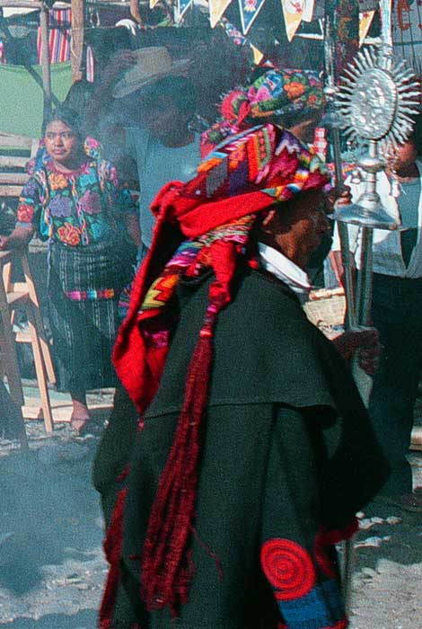 Cofradia in Market- photo by Gordon Kilgore - Chichicastenango - Maya Expeditions