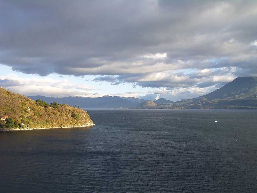 Lake Atitlan view  from San Marcos - photo by Les Mahoney - Copper Canyon Adventures - Maya Expeditions