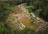 Aerial shot of Small Acropolis Yaxchlan - Maya Expeditions